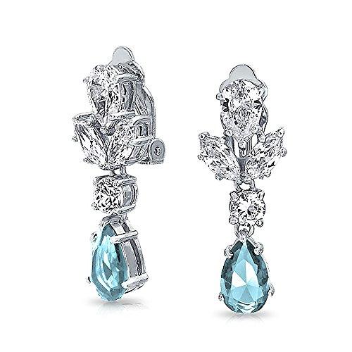 [해외][브링 보석] Bling Jewelry 로듐 황동 인공 아쿠아 마린 CZ 큐빅 눈물 샹들리에 클립 귀걸이 가져 오기/[Bring Jewelry] Bling Jewelry Rhodium Process Brass Artificial Aquamarine CZ Cubic Zirconia Teardrop Chandelier Clip Earrings [Import]