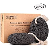Natural Pumice Stone for Feet(Pack of 2), Chialstar Lava Pedicure Tools Hard Skin Callus Remover for Feet and Hands - Natural Foot File Exfoliation to Remove Dead Skin - Includes Bag and Suction Hook