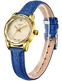 [ユリウス]JULIUS JA-723E レディース 腕時計 薄型 ゴールド貝殻 文字盤 ブルー革バンド 3気圧防水 女性 ウォッチ