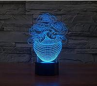 YJH+ 3Dの小さなテーブルランプ、クリエイティブLed誕生日プレゼントバラのランプ7つのカラータッチビジュアルライティングウェディングデコレーションUSBプラグバレンタインテーブルランプのタッチスイッチ 美しく、寛大な ( サイズ さいず : 219*147*87mm )