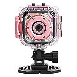 DROGRACE キッズカメラ 趣味育成 防水機能付き1080P高画質 子供用デジタルカメラ 1.77インチ携帯型HDカメラ ピンク