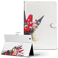 igcase d-01J dtab Compact Huawei ファーウェイ タブレット 手帳型 タブレットケース タブレットカバー カバー レザー ケース 手帳タイプ フリップ ダイアリー 二つ折り 直接貼り付けタイプ 002516 写真・風景 クリスマス サンタ