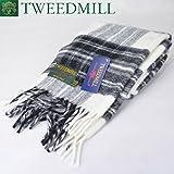 [ツイードミル] TWEEDMILL ピュアウール スカーフ Pure New Wool Scarf チェック ウールマフラー GREY DRESS STEWART