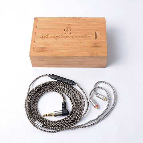 Woodhifi DY5N リケーブル MMCX イヤホン ケーブル 交換ケーブル 耳掛型 アップグレードケーブル SE215 SE315 UE900 SE846 SE535 SE425に対応 マイク付き 5N 4股手編み L型 グレー M