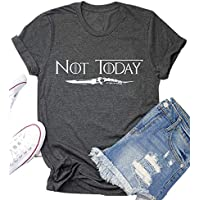 AEURPLT Not Today Game Thrones Shirt Women Teen Girls GOT TV Show Vintage T Shirt Merchandise Gifts Graphic Tops Tees