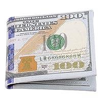 BEE&BLUE 財布 メンズ PUレザー 100ドル 折財布 ドル柄 エキゾチック 財布 二つ折り 薄型 カード入れ 小銭入れ 短財布 おもしろい ウォレット