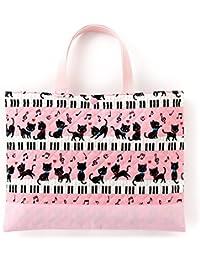 レッスンバッグ(キルティング) 絵本袋 手さげ おけいこバッグ ピアノの上で踊る黒猫ワルツ(ピンク) N0222600