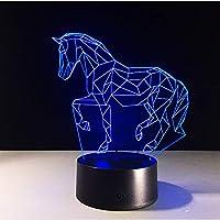 ランニングホースアクリル3Dステレオビジョンランプ馬インテリア装飾ランプ7色変更タッチスイッチ寝室のベッドサイドランプ