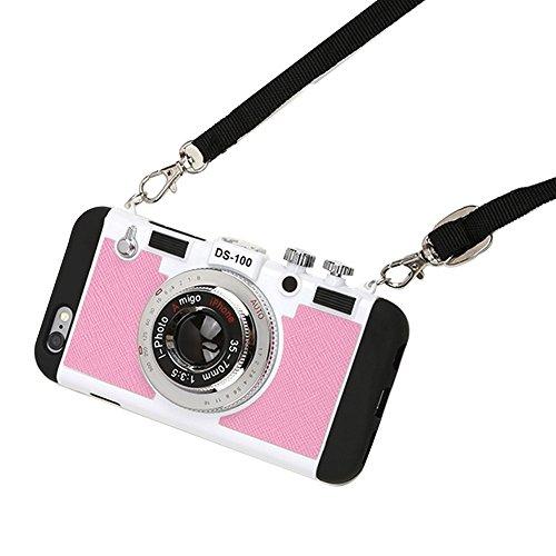 Quncle 大人気 iPhone SE/5/5s/6/6s/7/8/X ケース かわいい カメラみたいなiPhoneケース 【 オリジナル液晶フィルム ・ ケーブルガード ・ コードレール セット】 (iPhone SE/5/5s, ピンク)