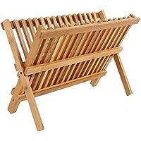 ディッシュラック–2層竹乾燥ディッシュラックキッチン用–Dry and Storeプレート、カップ、and Utensils–折りたたみ可能なコンパクト–16インチ