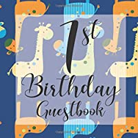 1st Birthday Guest Book: Dark Blue Giraffe Safari Animals Themed - First Party Baby Anniversary Event Celebration Keepsake Book - Family Friend Sign in Write Name, Advice Wish Message Comment Prediction - W/ Gift Recorder Tracker Log & Picture Space