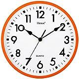 HENSE CLOCKS(ハンセ) 消音壁掛け時計 10インチ クォーツ HW11-09 オレンジ