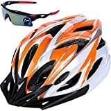 IZUMIYA 自転車 ヘルメット ロードバイク クロスバイク サイクリング 大人 超軽量 高剛性 大人用 サングラス セット (ホワイト×オレンジ)