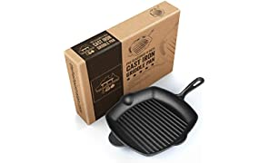 Ribbed Cast Iron Griddle Skillet Frying Pan 30cm (12 Inch). Oven Safe. Perfect for Stove Top, Camping and Barbecue. by Fresh Australian Kitchen.