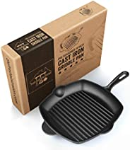 Ribbed Cast Iron Griddle Skillet Frying Pan 30cm (12 Inch). Oven Safe. Perfect for Stove Top, Camping and Barbecue. by Fresh
