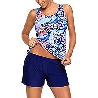 EVALESS Women's Plus Size Swimwear Floral Print Tankini Swimsuit with Shorts S-XXXL