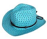 (ビグッド)Bigood 赤ちゃん ベビー 帽子 子供 ハット カウボーイハット ストローハット 麦わら帽子 つば広ハット キッズサンバイザー UVカット 日焼け防止(ブルー)