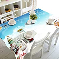 3Dクリスマス防塵テーブルクロスファミリーレストランホテルポリエステル装飾防汚テーブルリネン (Size : 228*396cm)