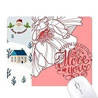 ピンクのバレンタインデー・ラブ・ローズ サンタクロース家屋ゴムのマウスパッド