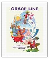 カリブ海 - グレースライン - 南米クルーズ - ビンテージな遠洋定期船のポスター によって作成された デイヴィッド・クライン c.1962 - キャンバスアート - 41cm x 51cm キャンバスアート(ロール)