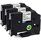 3 Pack Replace P Touch Label Tape Compatible Brother P-Touch Label Maker (TZ231 TZe231) Black on White 0.47 (12mm) x 8m (26.2ft)