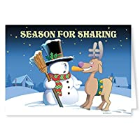 Funny Christmas Card - Time for Sharing? - 18 Cards & Envelopes [並行輸入品]