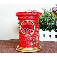 マネー バンク レトロ牧歌的なスタイルポストピギーバンククリエイティブレトロアンチドロップ貯蓄銀行(赤)