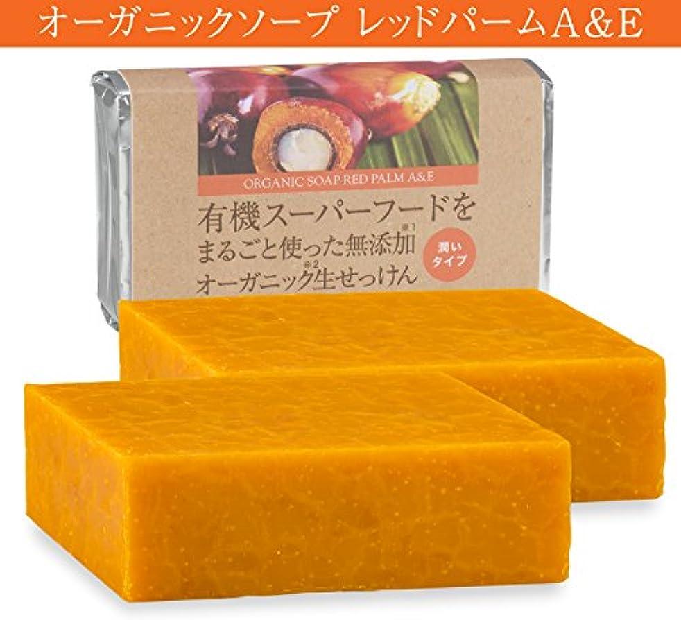 有機レッドパームオイルをたっぷり使った無添加オーガニック生せっけん(枠練)Organic Raw Soap Red Palm A&E 80g 2個コールドプロセス製法 (日本製)