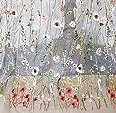 セントアイランド Ct.Island 花 フラワー 刺繍 布 生地 幅 150cm 長さ 2m ハギレ チュール ヴィンテージ レース ハンド メイド 手芸 手作り アンティーク 結婚式 ドレス ワンピース (ホワイト)