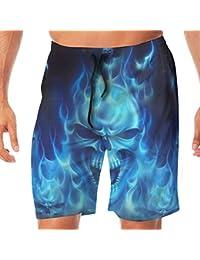 メンズ水着 ビーチショーツ ショートパンツ ブルー 炎 スカル スイムショーツ サーフトランクス 速乾 水陸両用 調節可能