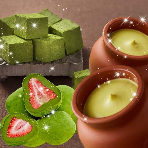 神戸フランツ 壷プリンと生チョコと苺トリュフの抹茶セット