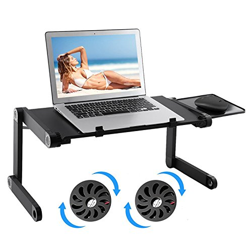 ノートパソコン スタンド PCスタンド パソコンデスク ラップデスク ファン付き 扇風機付 頚椎 腰椎 疲労 ストレス解消 姿勢/角度調整可能 折りたたみ式 スタンダードタイプ 360度調節可能 冷却FAN付き QSEKCH (ファン付き)