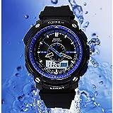 6 色 メンズ ダイバーズ ダイバー ウォッチ LED ライト 多機能 腕 時計 デジアナ デジタル デュアルコア 防水 ストップウォッチ アラーム スポーツ アウトドア (ブルー)