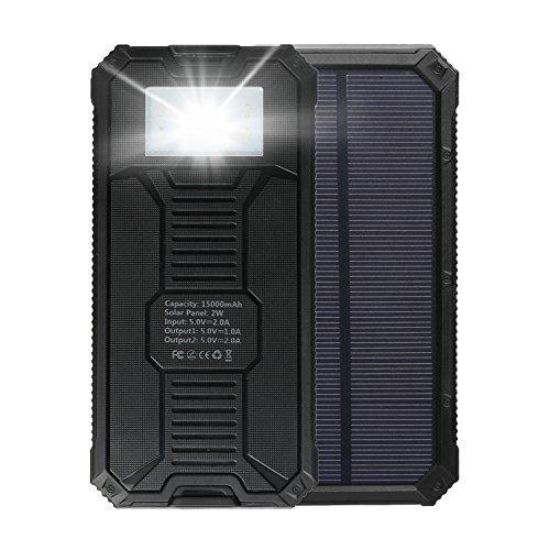 MixMart ソーラー充電器 スマートフォン/iPhone6 iPhone5 iPad Air miniスマホ/ニンテンドー大容量15000mAh 3DS/softbank/docomo/au/Xperia/ギャラクシー/ドコモ/海外 旅行用品