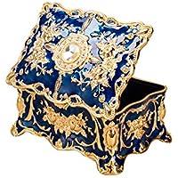 Feyarl Vintage Rectangle Blue Tiny Trinket Box Jewelry Box Ornate Antique Finish Engraved Organizer Box (Small)