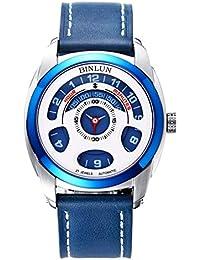 ee582aaa85 BINLUN 腕時計 機械式 自動巻き メンズ ブルー 本革バンド オリジナル シースルーバック 防水 プレゼント