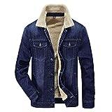 メンズ  デニム ジャケットカジュアル 冬 あったか 裏ボア ジージャン ストリート ブルゾン ジャンパー 防寒 ジーンズ  コート(ブルー ブラック) (M, ブルー)
