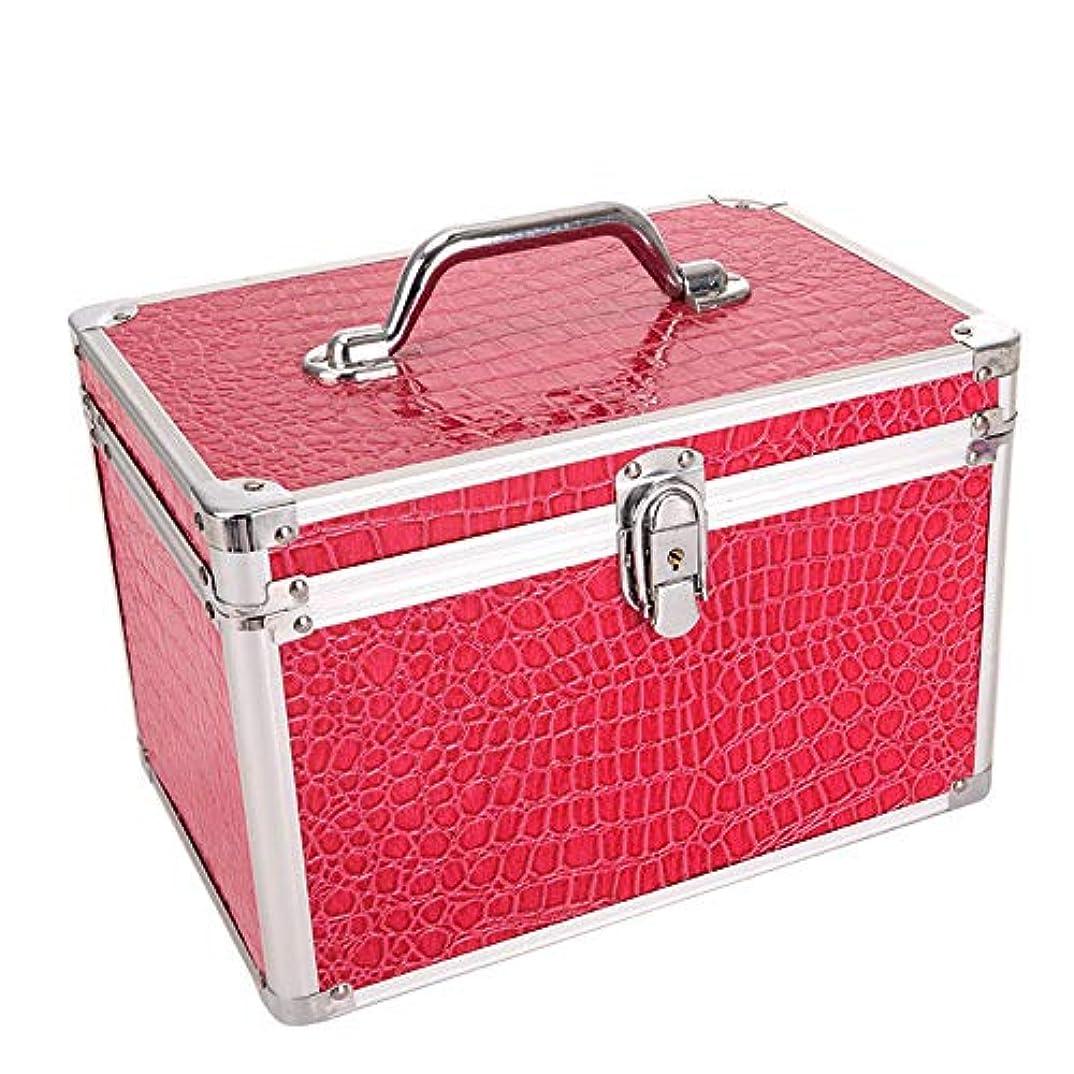 化粧オーガナイザーバッグ 女子女性のための美容メイクアップのための大容量ポータブル化粧品ケース旅行と化粧鏡付きロック付き日々のストレージ 化粧品ケース