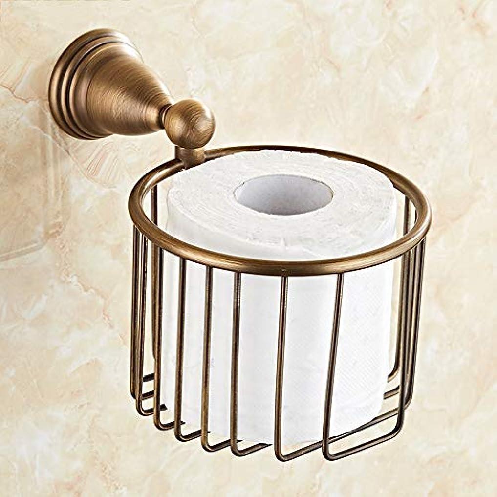 ZZLX 紙タオルホルダー、無料パンチングヨーロッパスタイルフル銅バスルームのハードウェアアンティークトイレットペーパーホルダーロールホルダー ロングハンドル風呂ブラシ (色 : Punch hole)