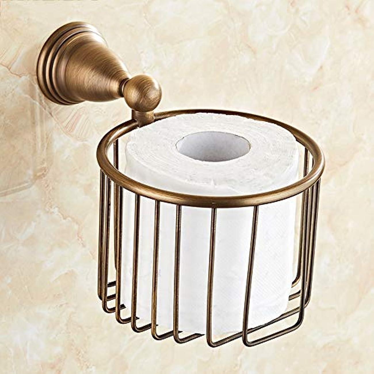 追い出すスラッシュヤングZZLX 紙タオルホルダー、無料パンチングヨーロッパスタイルフル銅バスルームのハードウェアアンティークトイレットペーパーホルダーロールホルダー ロングハンドル風呂ブラシ (色 : Punch hole)