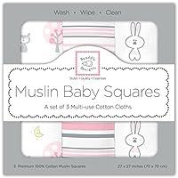 スワドルデザインズ (SwaddleDesigns) おくるみ Muslin Squares 70cm 3枚セット (ピンクチケット) [並行輸入品]
