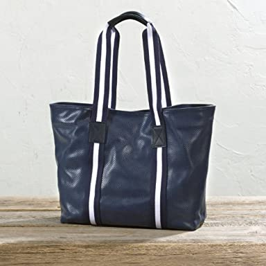 Punched Leather Tote Bag: Navy