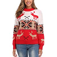 MOCOTONO Women's Christmas Ugly Sweater Reindeer Snowflake Knitted Pullover Jumper Red X-Large
