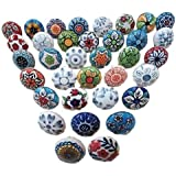 20 Mix Vintage Look Flower Ceramic Knobs Door Handle Cabinet Drawer Cupboard Pull Pushpacrafts