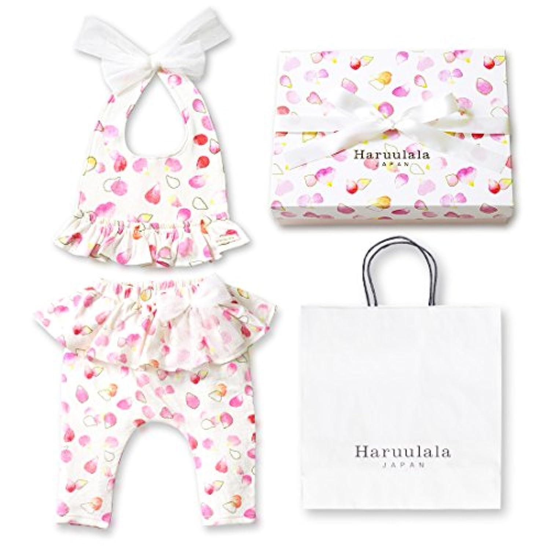 Haruulala Japan(ハルウララ) 出産祝い 女の子 オーガニックベビー服2点セット (スタイ+パンツ) (長袖_紙袋付き, ふわり)