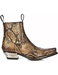 New Rock Shoes - Men's Brown Snake Skin Print Leather Ankle Boots