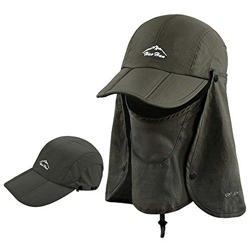紫外線帽子日焼け防止帽子UVカット帽子紫外線対策日焼け防止【全8色】3wayフェイスカバー付きBarsado(アーミーグリーン)