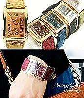 【本格レザーベルト】 スクエアフェイス プレミアム ウォッチ 男女兼用 時計 プレゼント(ブラック)