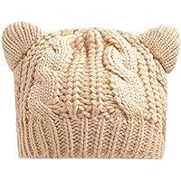 Impression 1X 猫耳 ニット 帽子 キャット ベレー帽 ケーブル編み ツイスト 猫耳 かわいい 暖かい 防寒 レディース 秋 冬