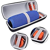 PU Carry Travel Protective Speaker Cover Case Pouch Bag For JBL Charge 3 Charge3 Extra Space for Plug & Cables (Orange) (Black+Gray)